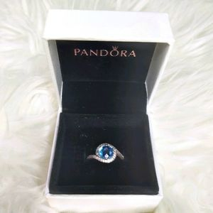 Pandora Radiant Embellishment Ring Blue Silver